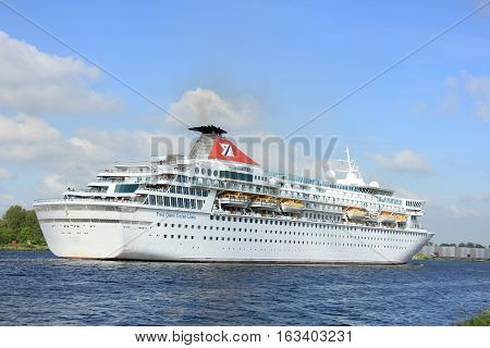 Velsen The Netherlands - May 27 2015: Balmoral. The Balmoral is a cruise ship owned and operated by Fred. Olsen Cruise Lines. She was built in 1988 by the Meyer Werft shipyard in Papenburg West Germany and is 187.71 m (615 ft 10 in) long.