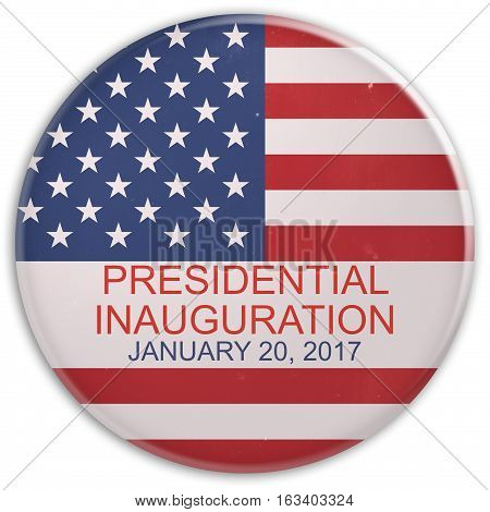 Scratched US Flag Presidential Inauguration Day 2017 Badge 3d illustration