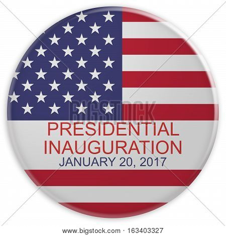 US Flag Presidential Inauguration Day 2017 Badge 3d illustration