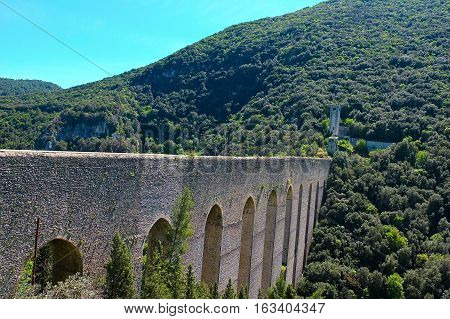 Aqueduct in Spoleto near assisi . Italy