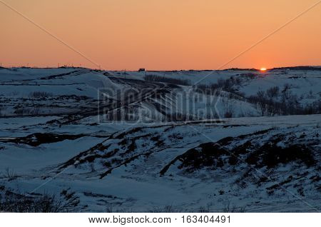 Spring Sunset in Artic. Vorkuta, north of Russian Federation