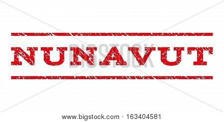 Nunavut watermark stamp. Text tag between horizontal parallel lines with grunge design style. Rubber seal stamp with scratched texture. Vector intensive red color ink imprint on a white background.