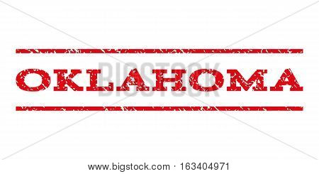 Oklahoma watermark stamp. Text caption between horizontal parallel lines with grunge design style. Rubber seal stamp with dirty texture. Vector intensive red color ink imprint on a white background.