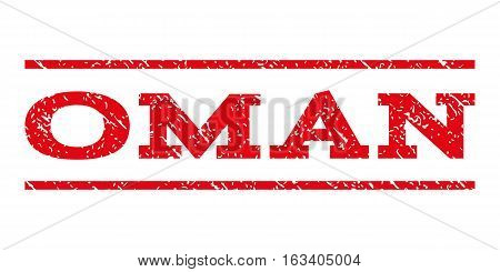 Oman watermark stamp. Text tag between horizontal parallel lines with grunge design style. Rubber seal stamp with dirty texture. Vector intensive red color ink imprint on a white background.