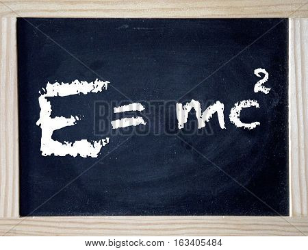 Emc Einstein theory of relativity written on black board