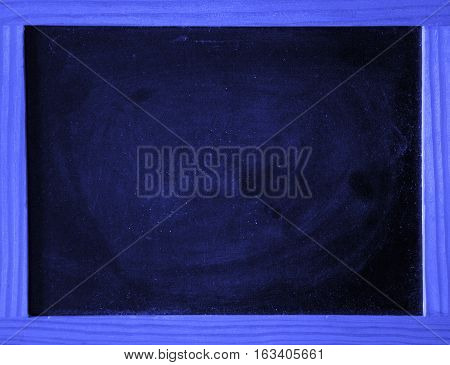 a blue chalkboard with a wooden frame