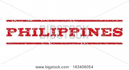 Philippines watermark stamp. Text caption between horizontal parallel lines with grunge design style. Rubber seal stamp with dirty texture.