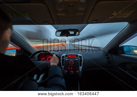 Night Road View From Inside Car