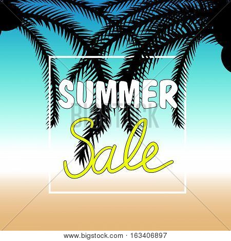 Summer Sale With Palm In Color Design Illustration