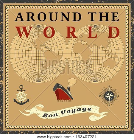 Travel concept. Around the world ship cruise. Ribbon have nice trip - Bon voyage in French letters. Freehand cartoon retro style. Tourist vessel tour vacation. Vintage banner background