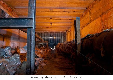Underground tunnel of heating duct, place where homeless hide from winter cold