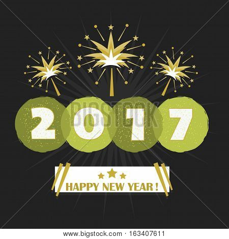 Abstract Happy New Year 2017 night firework blast design on black background