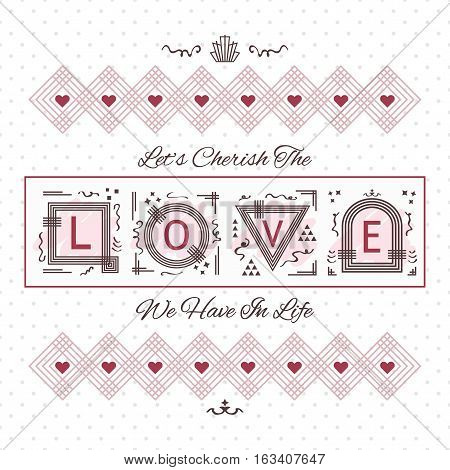 Cherish The Love card - Line geometrical design on dotted background