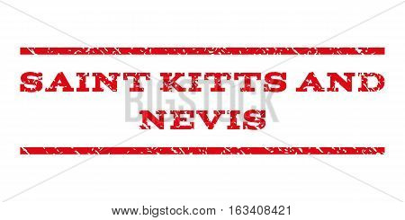 Saint Kitts and Nevis watermark stamp. Text tag between horizontal parallel lines with grunge design style. Rubber seal stamp with dirty texture.