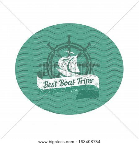 Travel nautical icon Best boat trips. Vintage retro concept. Logo element. Yacht steering helm stamp. Design idea cruise ship tour emblem. Vector advertisement label tamplate. Sea waves background