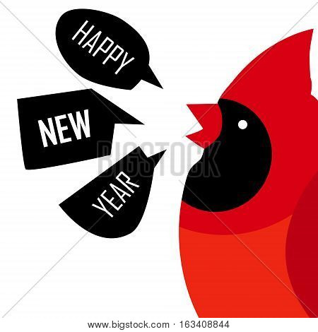 Happy New Year card with Red cardinal. Flat design. Vector