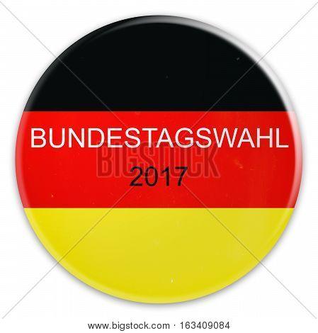 German Politics: Scratched Badge Germany Flag Bundestag Election 2017 3d illustration