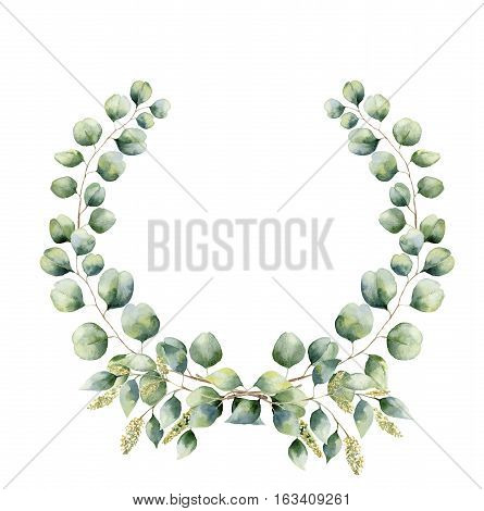 Watercolor floral wreath with green eucalyptus leaves. Hand painted floral wreath with branches, leaves of seeded and silver dollar eucalyptus isolated on white background. For design or background.