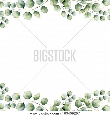 Watercolor green floral frame card with silver dollar eucalyptus leaves. Hand painted border with branches and leaves of eucalyptus isolated on white background. For design or background.