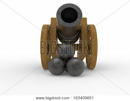 3d illustration of metal toy cannon. white background isolated. icon for game web.