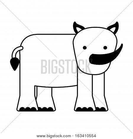 cute rhino character icon vector illustration design