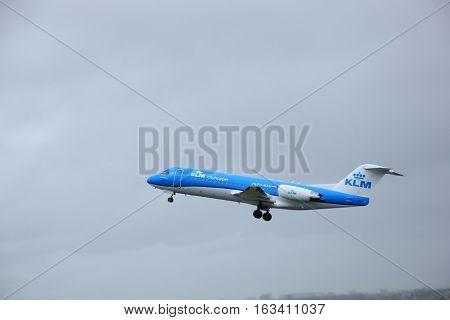 Amsterdam the Netherlands - March 27th 2015: PH-KZM KLM Cityhopper Fokker F70 Polderbaan Runway