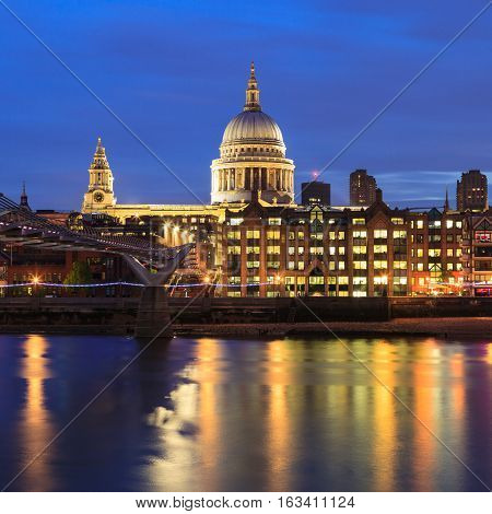 Millennium Bridge Leading To Saint Paul's Cathedral During Sunset In Central London, Uk