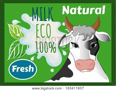 Cow's Milk, Natural 100 Percent, Fresh Eco, Splash and Blot Design, Yogurt or Cream Logo, Icons, Splashes, Agriculture Store, Packaging and Advertising, Vector Illustration EPS 10