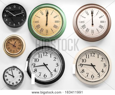 clocks on white (details and color here is highly processed)