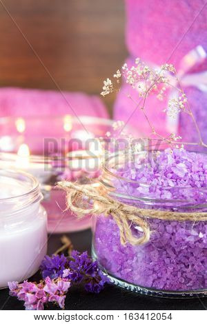 Spa Products. Violet Purple Concept.