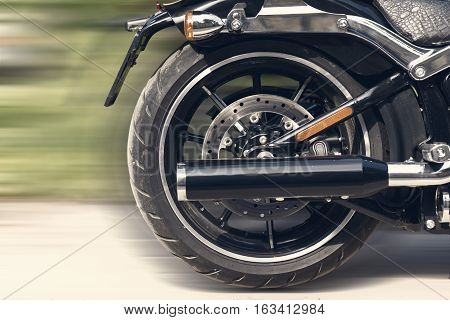 close up view motorcycle wheel disc brake