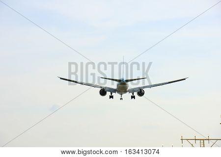 Amsterdam the Netherlands - April 1st 2016: HL8285 Korean Air Lines Boeing 777 approaching Polderbaan runway arriving from Seoul Korea
