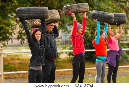 Kyiv, Ukraine - October 08/2016. Outdoor CrossFit training, preparation for competition