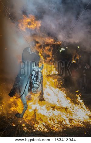 A Man Riding His Horse Jumping Throug The Fire