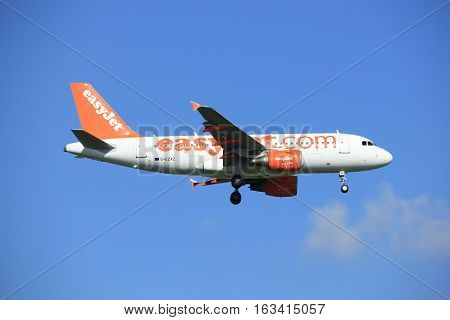 Amsterdam the Netherlands - June 24th 2016: G-EZAZ easyJet Airbus A319-111 approaching Polderbaan runway Amsterdam Schiphol arriving from London United Kingdom