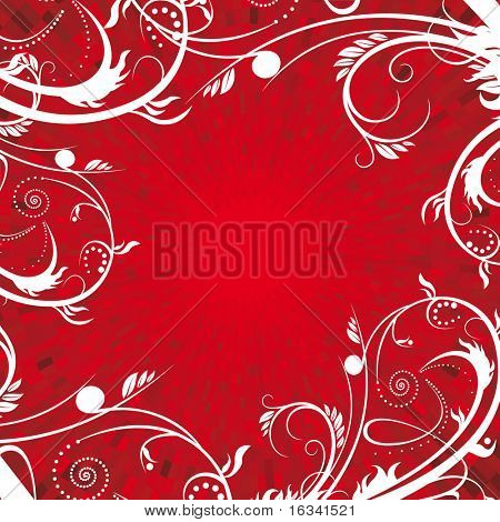 Floral frame with red background