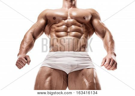 Strong Athletic Man shows body and abdominal muscles over white background