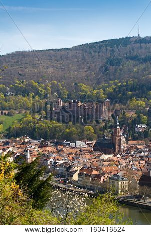 HEIDELBERG, GERMANY - MAR 29, 2014: Wonderful medieval town Heidelberg in Spring, Southern Germany.