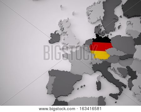 A 3D Rendering European Map With A Flag Of A Spesific Country