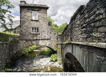 The old stone built Bridge House, Ambleside (Cumbria)