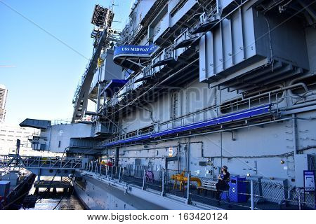 San Diego, California - Usa - Dec 04,2016 - Uss Midway Museum At Navy Pier