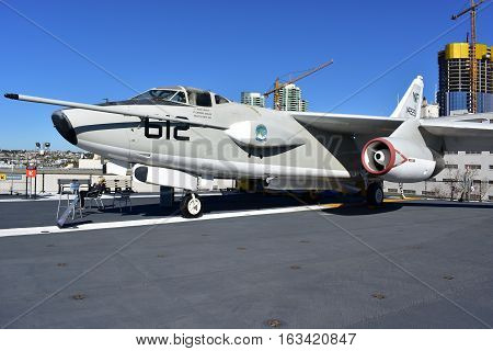 San Diego, California - Usa - Dec 04,2016 - Uss Midway Museum  Aircraft 612