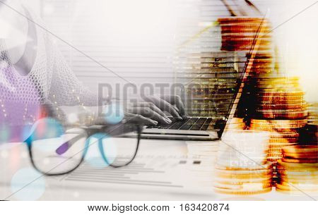 Double Exposure Of Business People Working On A Laptop Computer While Enjoying And Network Connectio
