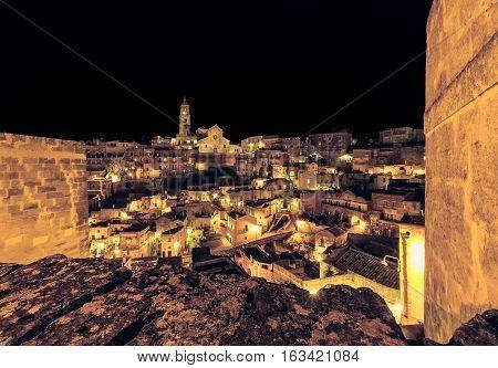 Panoramic View Of Typical Stones (sassi Di Matera) And Church Of Matera Unesco European Capital Of C