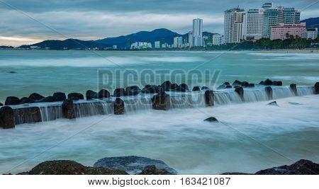 Slow exposure seascape in Nha Trang Vietnam.
