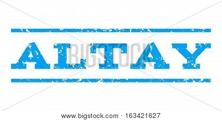 Altay watermark stamp. Text tag between horizontal parallel lines with grunge design style. Rubber seal stamp with scratched texture. Vector blue color ink imprint on a white background.