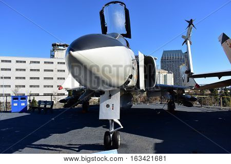San Diego, California - Usa - Dec 04,2016 - Mcdonnell Douglas Aircraft  Midway Museum
