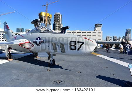 San Diego, California - Usa - Dec 04,2016 - Aircraft Cougar In Uss Midway Museum