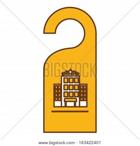 door hanger icon over white background. hotel service concept. colorful design. vector illustration