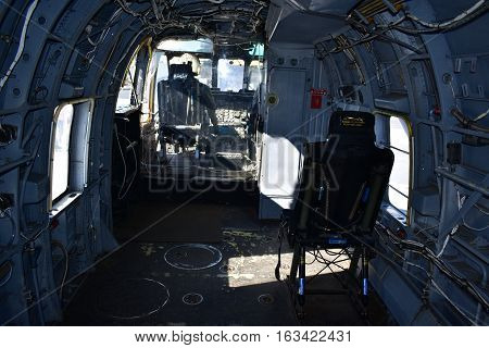 San Diego, California - Usa - Dec 04,2016 - Inside Helicopter Uss Midway Museum